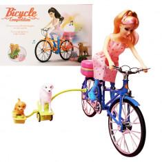 Papusa cu bicicleta, 30 cm,  lumini, sunete, propulsare electrica
