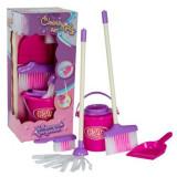 Set de joaca ,pentru curatenie cu mop, galetusa, matura, faras, perie, roz