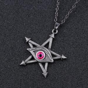 Pandantiv Ochiul rosu pe pentagrama stea lamtisor vintage gothic style