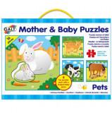 Set 4 puzzle-uri Mama si puiul - Animale domestice, Galt