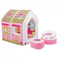 Casuta de joaca gonflabila roz pentru copii +fotoliu si taburet