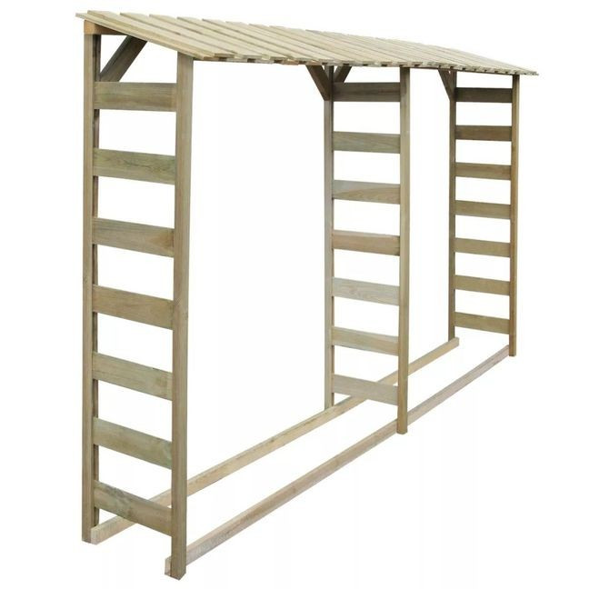 Șopron dublu pentru lemne, lemn de pin tratat, 300x44x176 cm