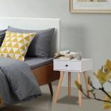 Noptiere din lemn masiv de pin 2 buc, 40 x 30 x 61 cm, alb