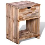 Noptieră cu sertar, lemn de tec reciclat