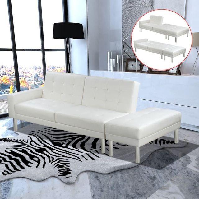 Canapea extensibilă, piele artificială, alb, reglabil