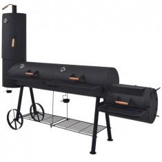 Grătar cu cărbuni, afumătoare și raft jos, negru, masiv XXXL
