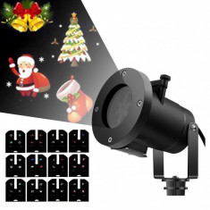 Proiector LED Tematic Pentru Exterior Cu 12 Diapozitive Interschimbabile