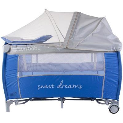 Patut Pliabil cu Sistem de Leganare Sweet Dreams - Sun Baby - Albastru foto