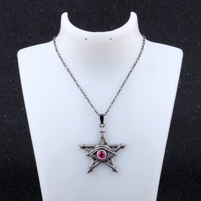 Pandantiv Ochiul rosu pe pentagrama stea lamtisor vintage gothic style foto