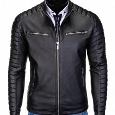Geaca pentru barbati, piele ecologica, negru, model slim, buzunare laterale - c326, L, M, XL