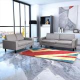 Set canapele cu 2 locuri și 3 locuri, textil, gri deschis