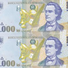 Bancnota Romania 1.000 Lei 1998 - P106 UNC (2 buc. consec. - filigran BNR mare )