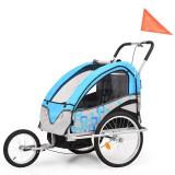 Remorcă bicicletă & cărucior copii 2-în-1, albastru și gri