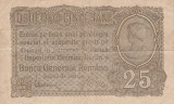 Romania  25 Bani  ND 1917  Ocupatia Germana  P-M1  F