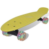 Skateboard Retro cu Roți LED Galben, 22, Penny board