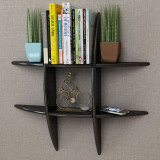 Raft suspendat pe perete din MDF cu depozitare cărți/DVD-uri, negru