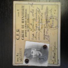 Carte de identitate pentru calatorii CFR 1942