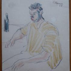Constantin Baciu , Barbat la carciuma , semnat si datat 1952 , creioane colorate