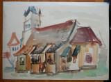 Lucia Cosmescu , Harman , Tara Barsei , Biserica ,1960 , acuarela mare , semnata