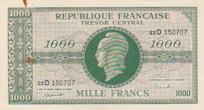 Franta 1000 Francs   ND 1945  P-107  aUNC- some rust foto