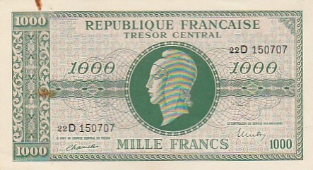 Franta 1000 Francs   ND 1945  P-107  aUNC- some rust