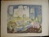 Lucia Cosmescu , Peisaj din Bucuresti , litografie , exemplar 40 / 48
