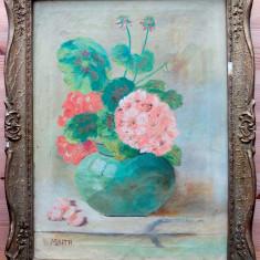 Vas cu flori - pictură în ulei semnată M BARTA
