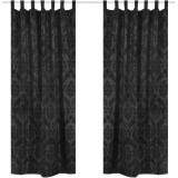 2 Draperii baroce din tafta cu bride 140 x 225 cm, negru