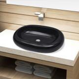 Chiuvetă de baie din ceramică, ovală, negru