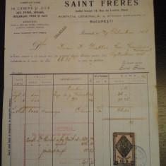 Factura Saint Freres - 22 octombrie 1908 - cu timbru
