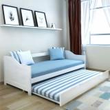 Canapea extensibilă/pat de zi din lemn de pin, 200 x 90 cm, alb