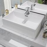 Chiuvetă baie, orificiu robinet, ceramică, 51,5x38,5x15 cm, alb