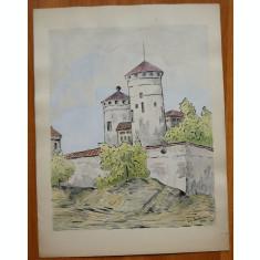 4 acuarele semnate , Brasov , 1944 , pictor roman