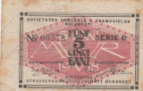 Romania 5 Bani  ND 1918 Societatea Comunala a Tramvaielor Bucuresti  F-