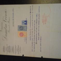 Certificat practica Fabricele Dumitru Voina - 21 februarie 1934 - cu timbre