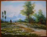 Ulei / carton , Peisaj campenesc al pictorului banatean Nicolae Popovici , Banat, Scene gen, Realism