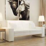 Canapea extensibilă din piele artificială, alb