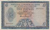 Scotia  5 Pounds  1.08.1963  National Commercial Bank Of Scotland Ltd