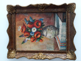 Tablou vaza cu maci pe placaj, Natura statica, Acrilic, Altul