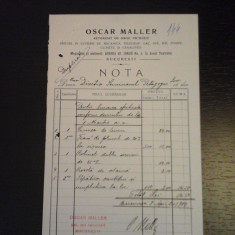 Nota facturare Oscar Maller 8 aprilie 1904 -