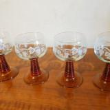 4 PAHARE CRISTAL pentru VIN
