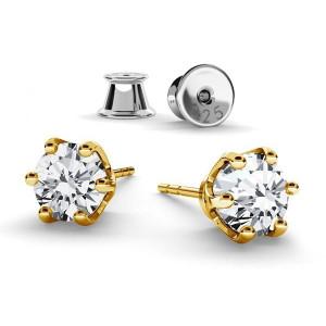 Cercei argint placat cu Aur Galben, Cercei Swarovski Zirconia Crystal Clear 6mm + CADOU Laveta pentru curatat bijuteriile din argint