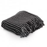 Pătură decorativă cu pătrățele, bumbac, 125 x 150 cm, negru