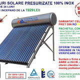 Panou solar presurizat, 120 litri, 12 tuburi, 100% INOX, cel mai mic pret (!)