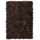 Covor fire lungi, piele naturală, 120x170 cm, Maro