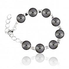 Bratara argint, Bratara Swarovski Rivoli Silver Night 12mm + CADOU Laveta pentru curatat bijuteriile din argint