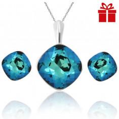 Set bijuterii argint cu cristale SWAROVSKI CRYSTALS Square Electric Blue + CADOU Laveta pentru curatat bijuteriile din argint