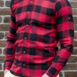 Camasa casmir carouri - camasa slim fit - camasa barbati - camasa rosu negru, L, S, XL, XXL, Din imagine