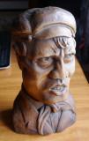 Bust de muncitor ; Sculptura in lemn de Ioan Sarghie , semnata , 1923