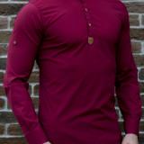 Camasa asimetrica grena - camasa slim fit - camasa barbati - camasa grena, M, XL, Din imagine